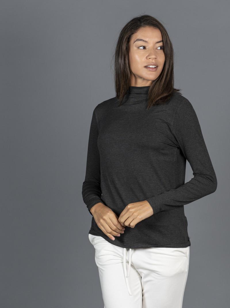 T-shirt grigia collo alto donna con manica lunga in viscosa