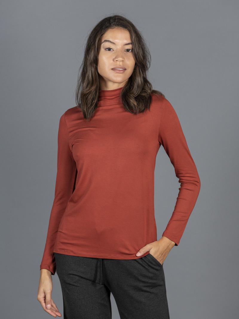 T-shirt arancione collo alto donna con manica lunga in viscosa