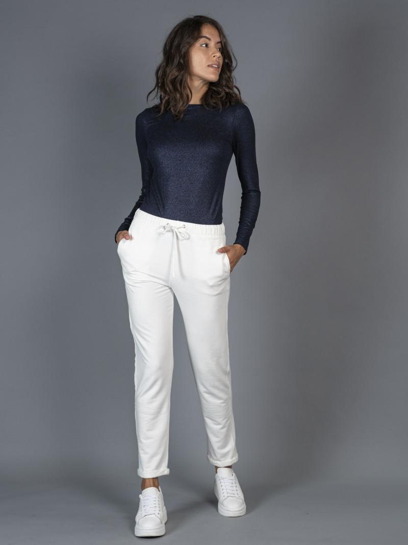 Jogger felpato bianco con risvoltino donna in viscosa con coulisse e tasche
