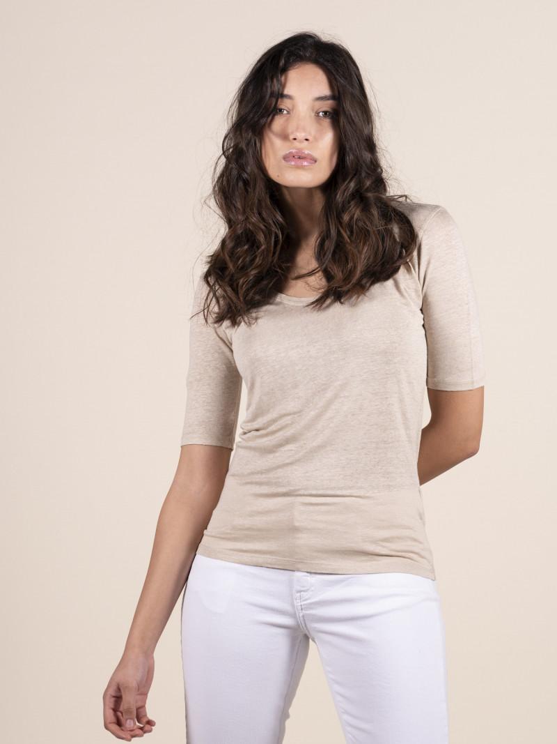 T-shirt sabbia donna con scollo a U e manica al gomito in lino ed elastan