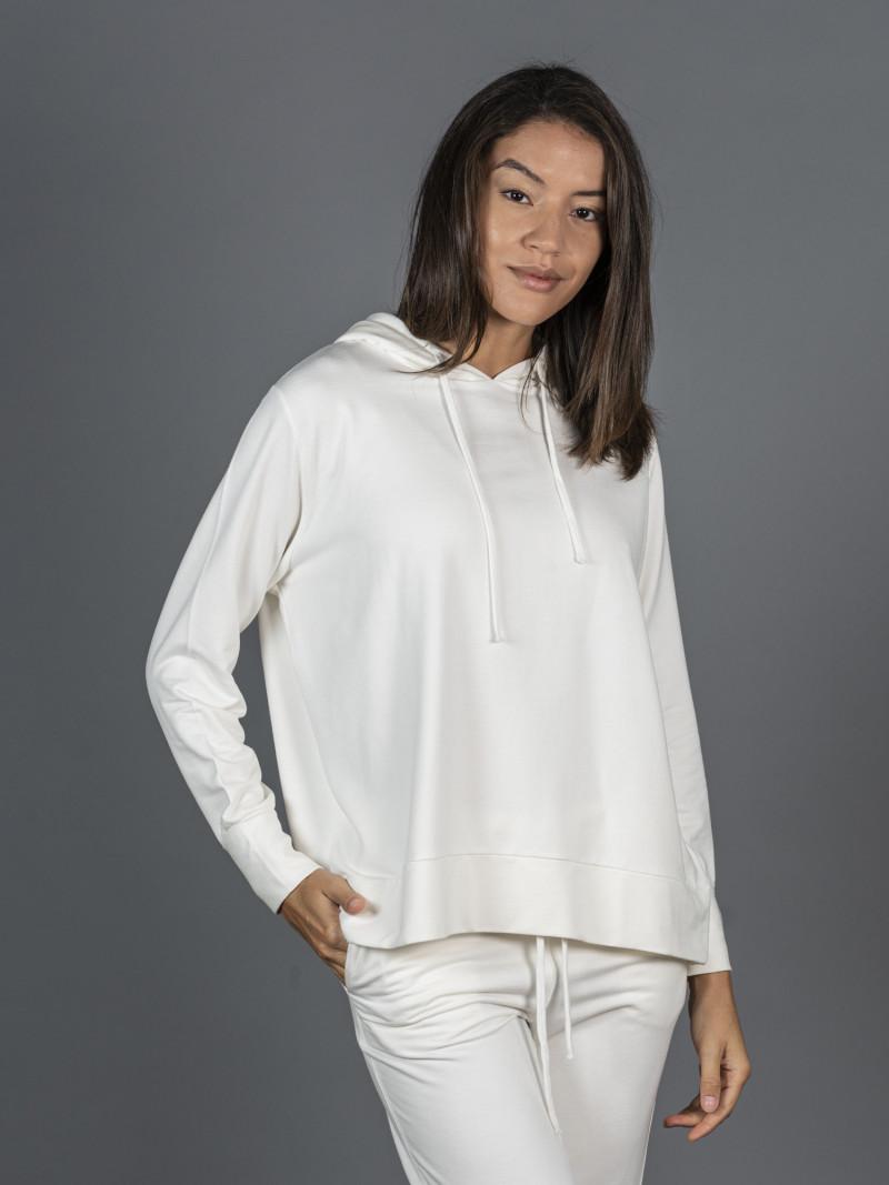 Felpa bianca in viscosa con cappuccio e maniche lunghe
