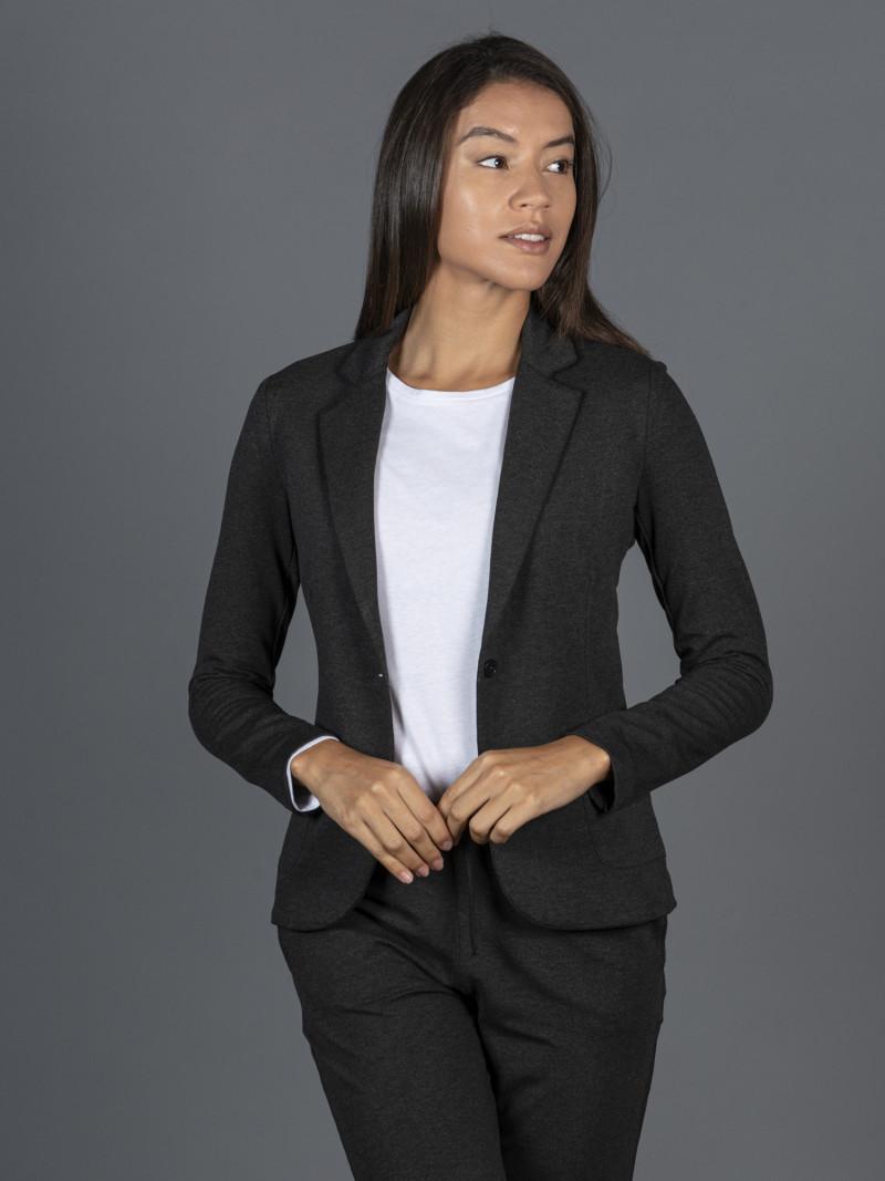 Giacca grigia da donna con maniche lunghe e bottone