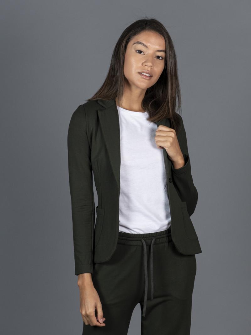 Giacca verde da donna con maniche lunghe e bottone