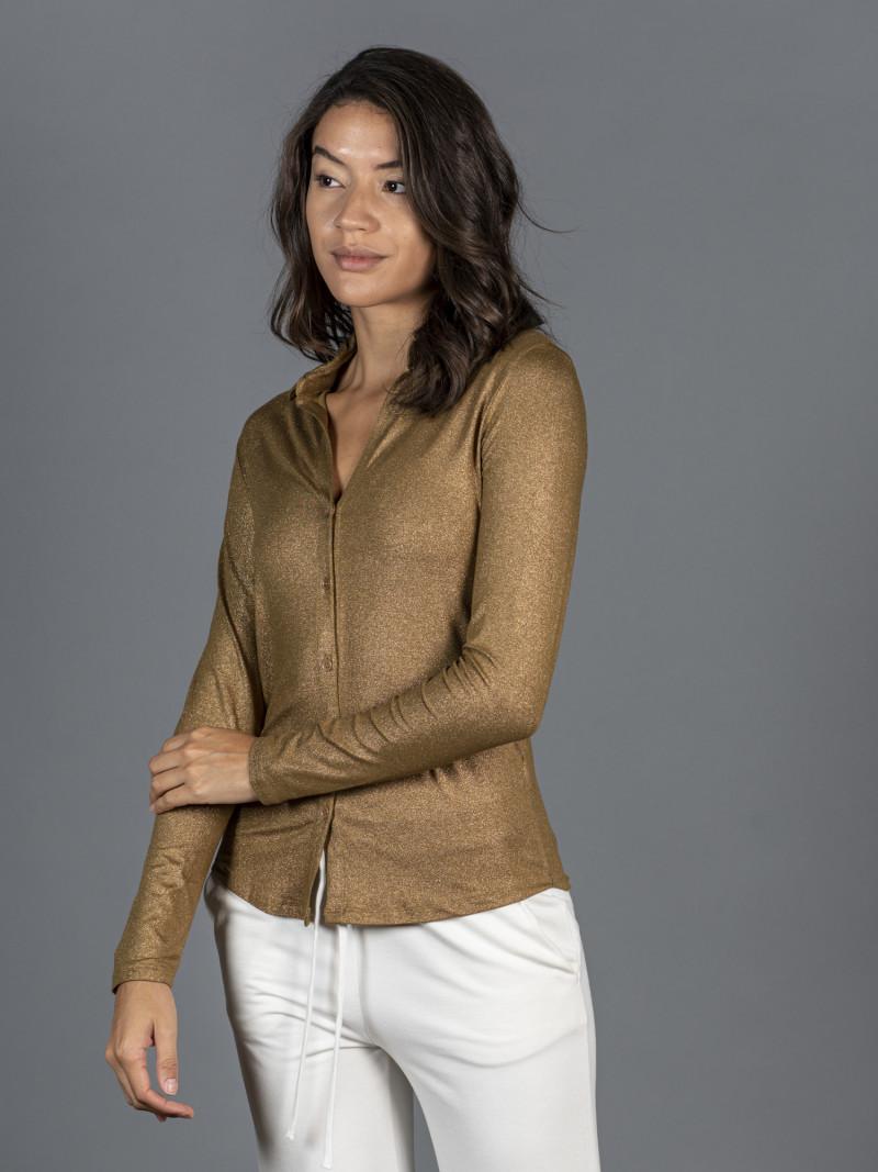 Camicia ambra metal donna con colletto e tasca in viscosa