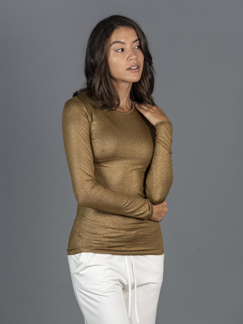 T-shirt ambra metallizzata donna girocollo con manica lunga in viscosa