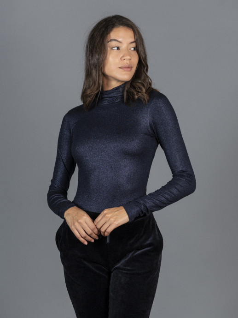 T-shirt blu metallica dolcevita donna con manica lunga in viscosa