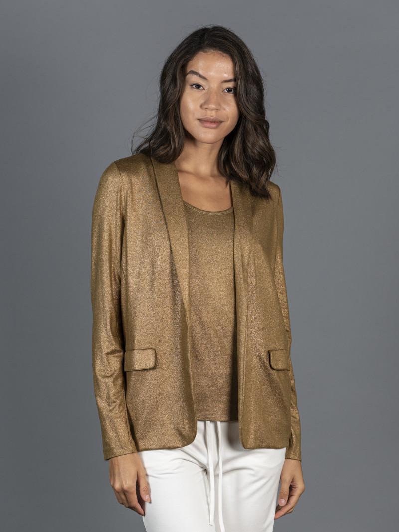 Giacca ambra metallizzata da donna in viscosa con maniche lunghe