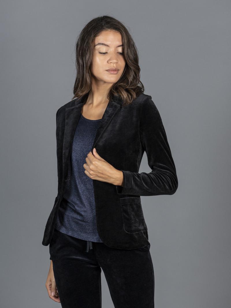 Giacca blu scuro in velluto da donna con maniche lunghe e bottone