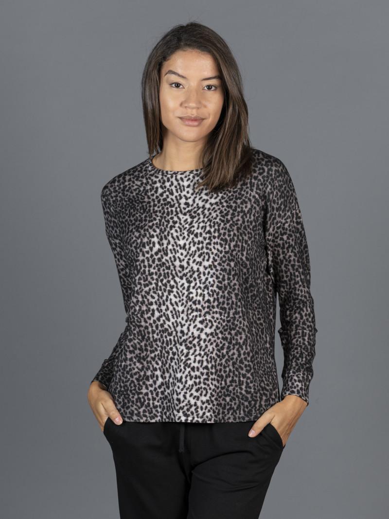 T-shirt girocollo animalier porcellana in viscosa