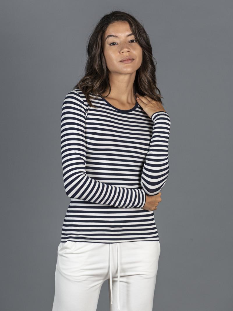 T-shirt a righe blu e nere da donna girocollo con manica lunga in viscosa