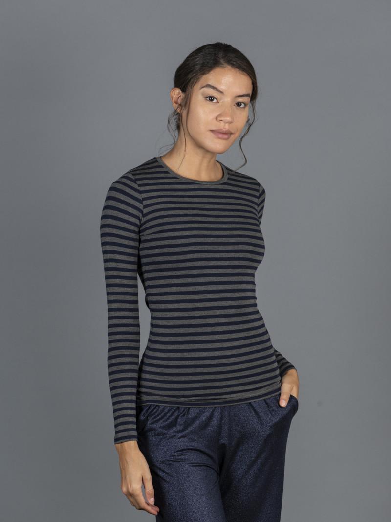 T-shirt a righe grigie e blu da donna girocollo con manica lunga in viscosa