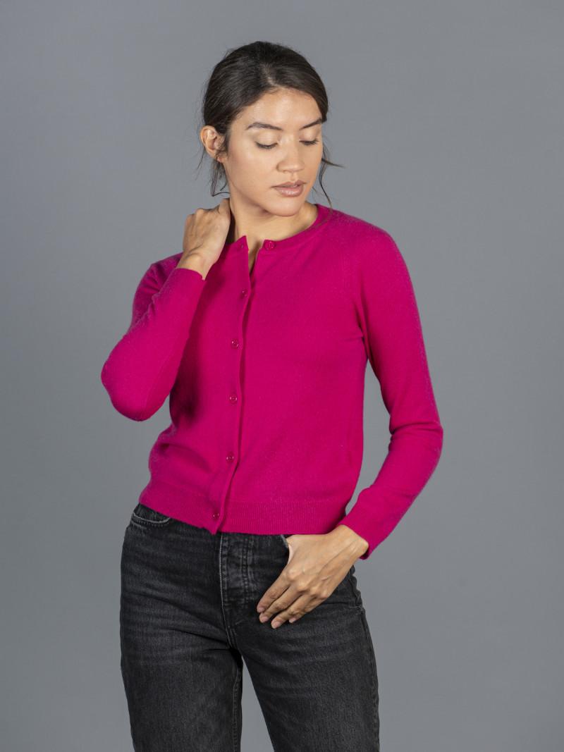 Cardigan a maniche lunghe rosa scuro in 100% cashmere