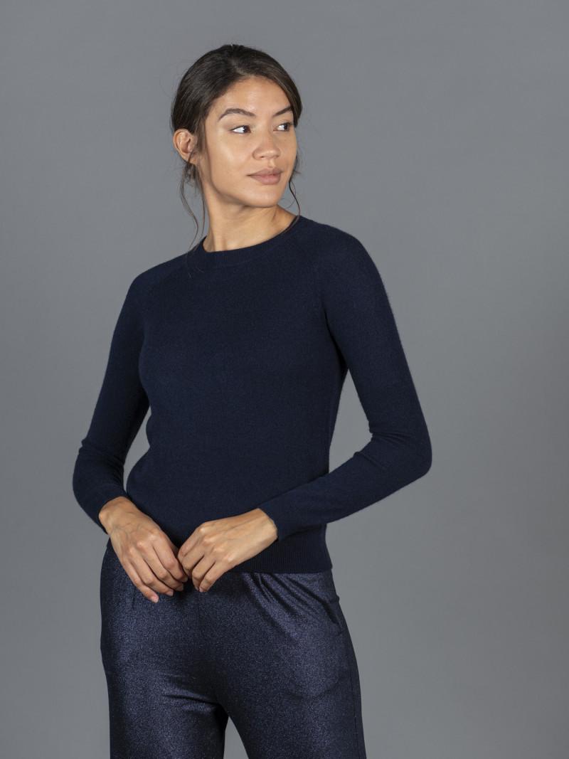 Maglione in 100% cashmere blu scuro girocollo