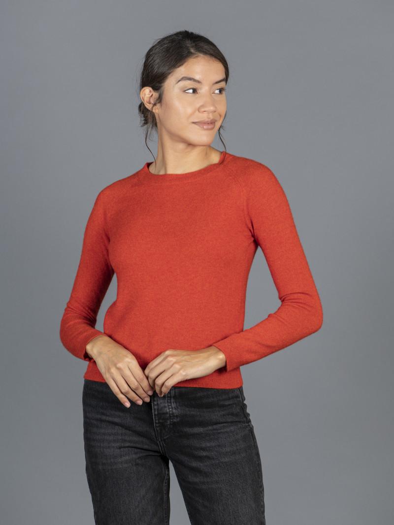 Maglione in 100% cashmere rosso mattone girocollo