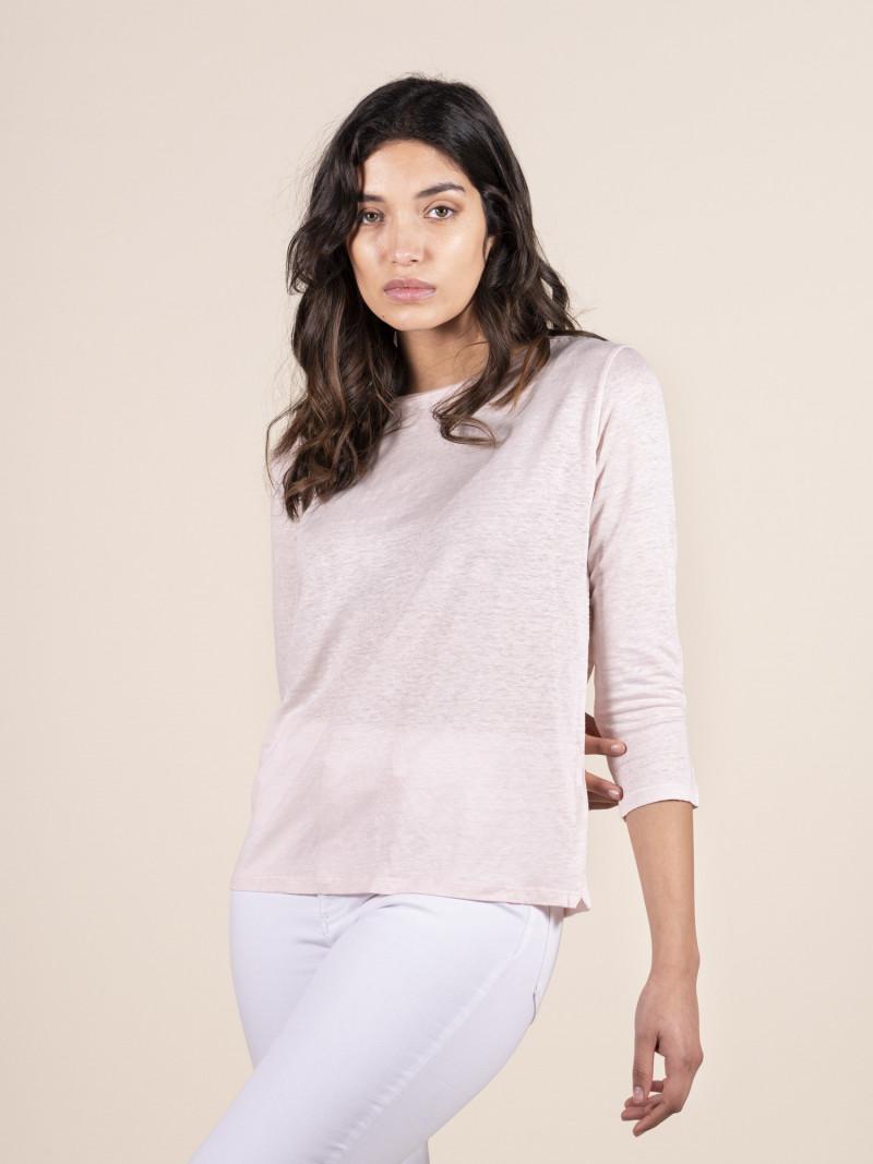 T-shirt rosa donna con scollo a barchetta e maniche a tre quarti in lino