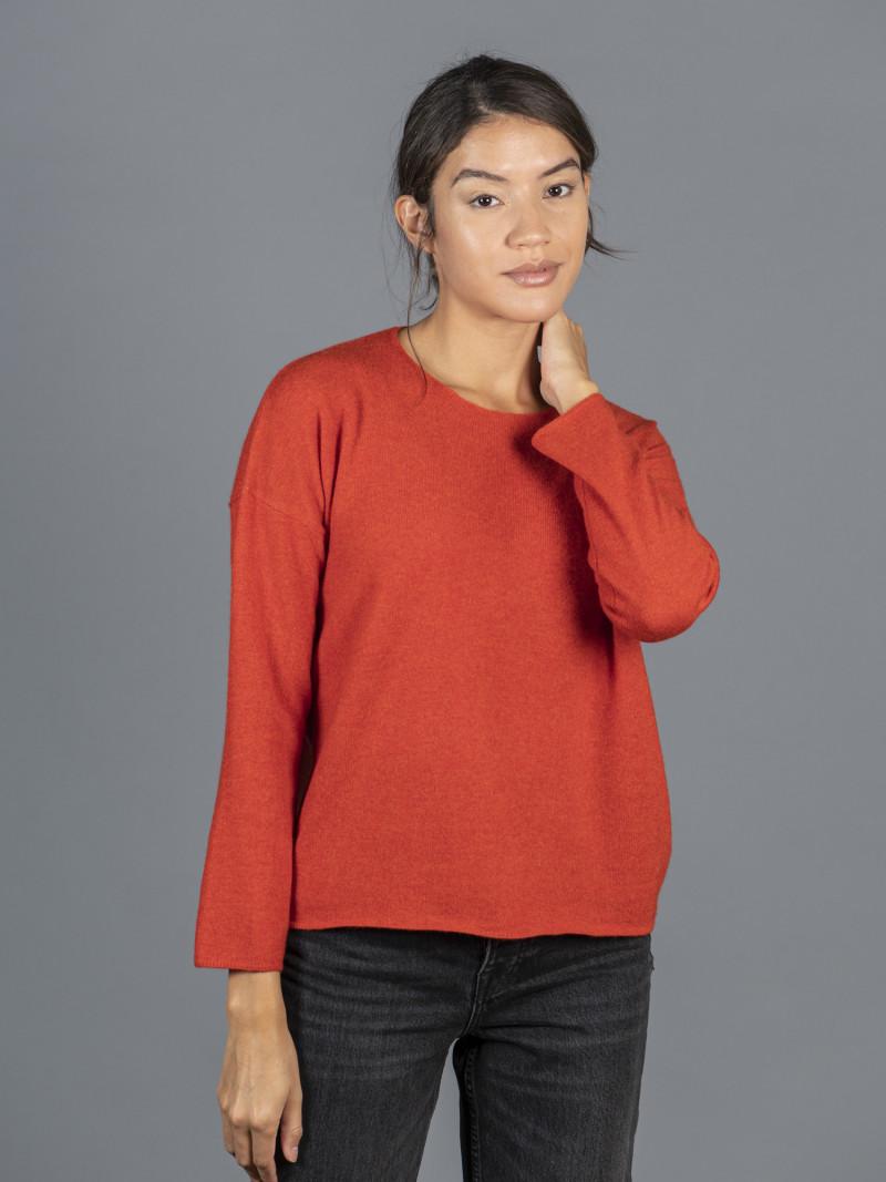 Maglione oversize in 100% cashmere rosso mattone maniche lunghe