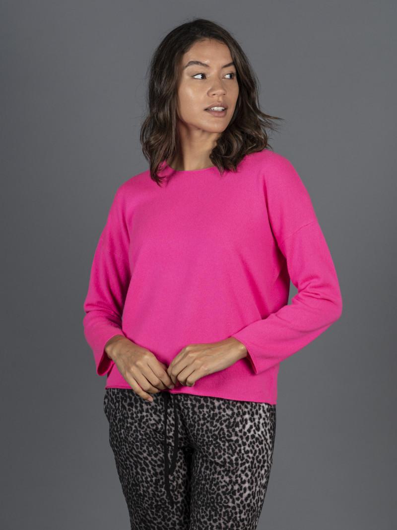 Maglione oversize in 100% cashmere rosa fluo maniche lunghe