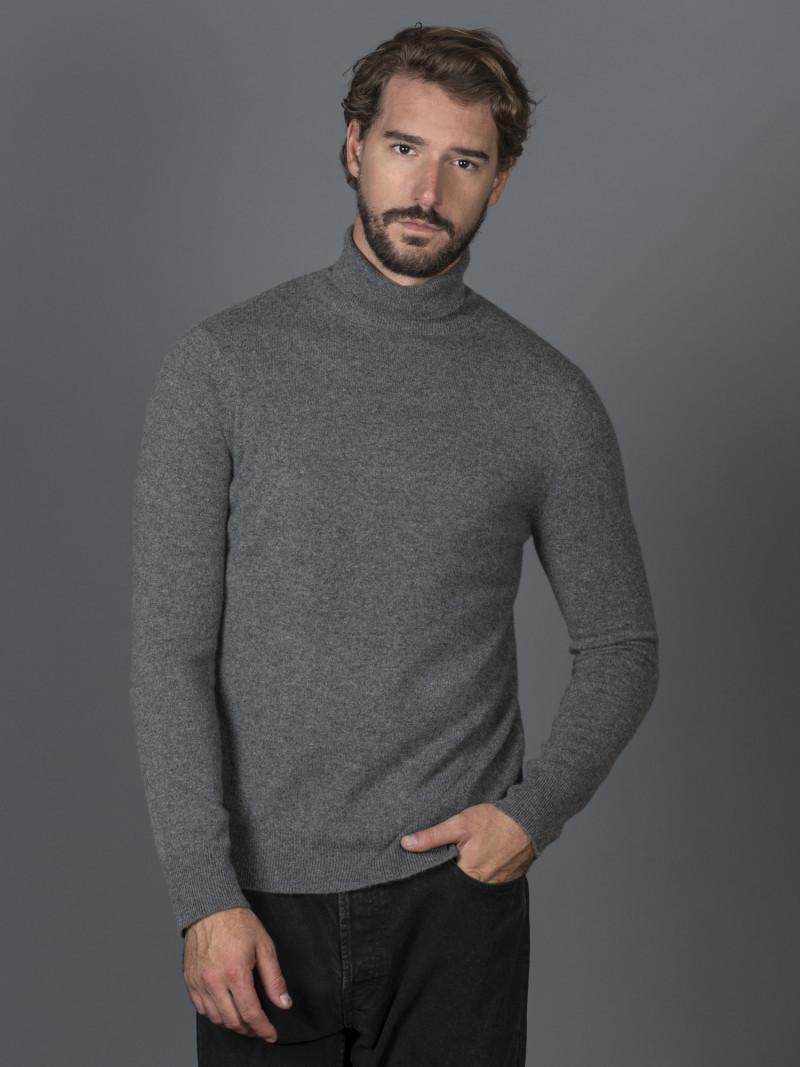 Maglione uomo in 100% cashmere grigio dolcevita
