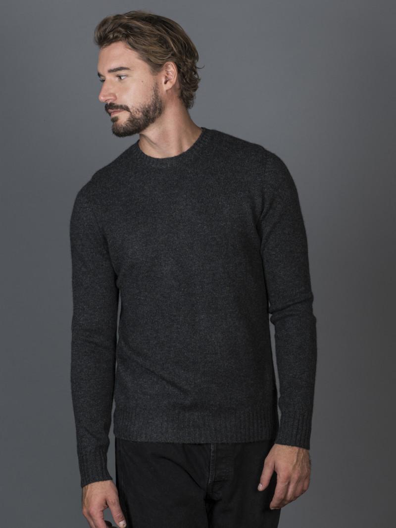 Maglione uomo in 100% cashmere grigio girocollo