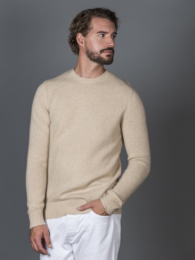 Maglione uomo in 100% cashmere beige girocollo