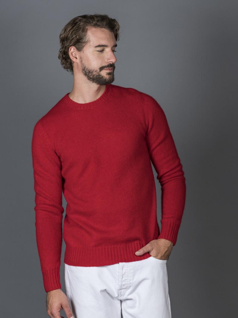 Maglione uomo in 100% cashmere rosso girocollo