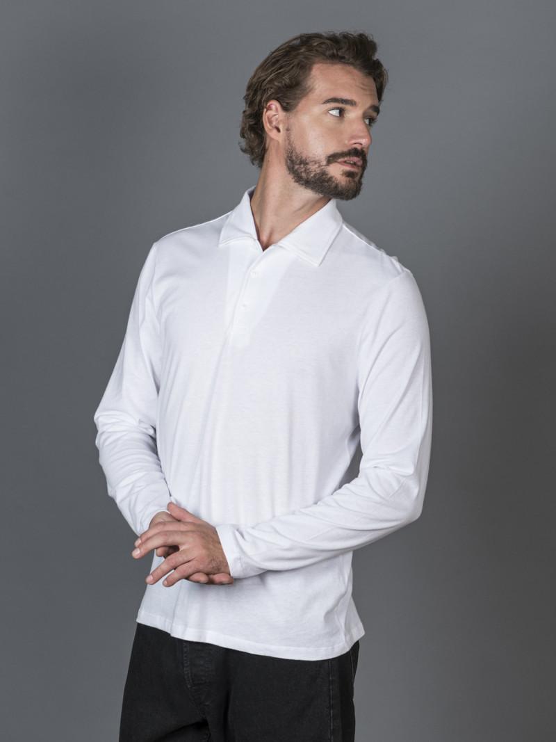 Polo bianca uomo con maniche lunghe e scollo a V in cotone