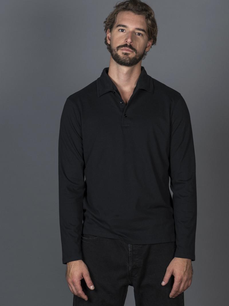 Polo nera uomo con maniche lunghe e scollo a V in cotone