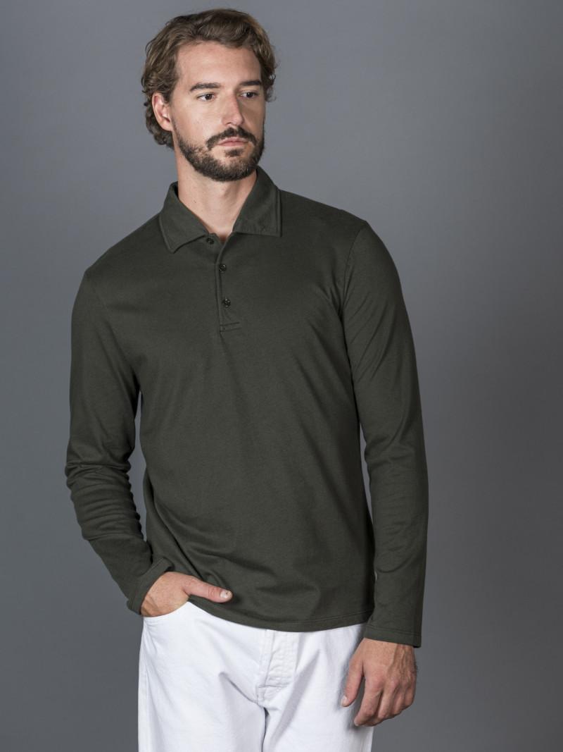 Polo verde uomo con maniche lunghe e scollo a V in cotone