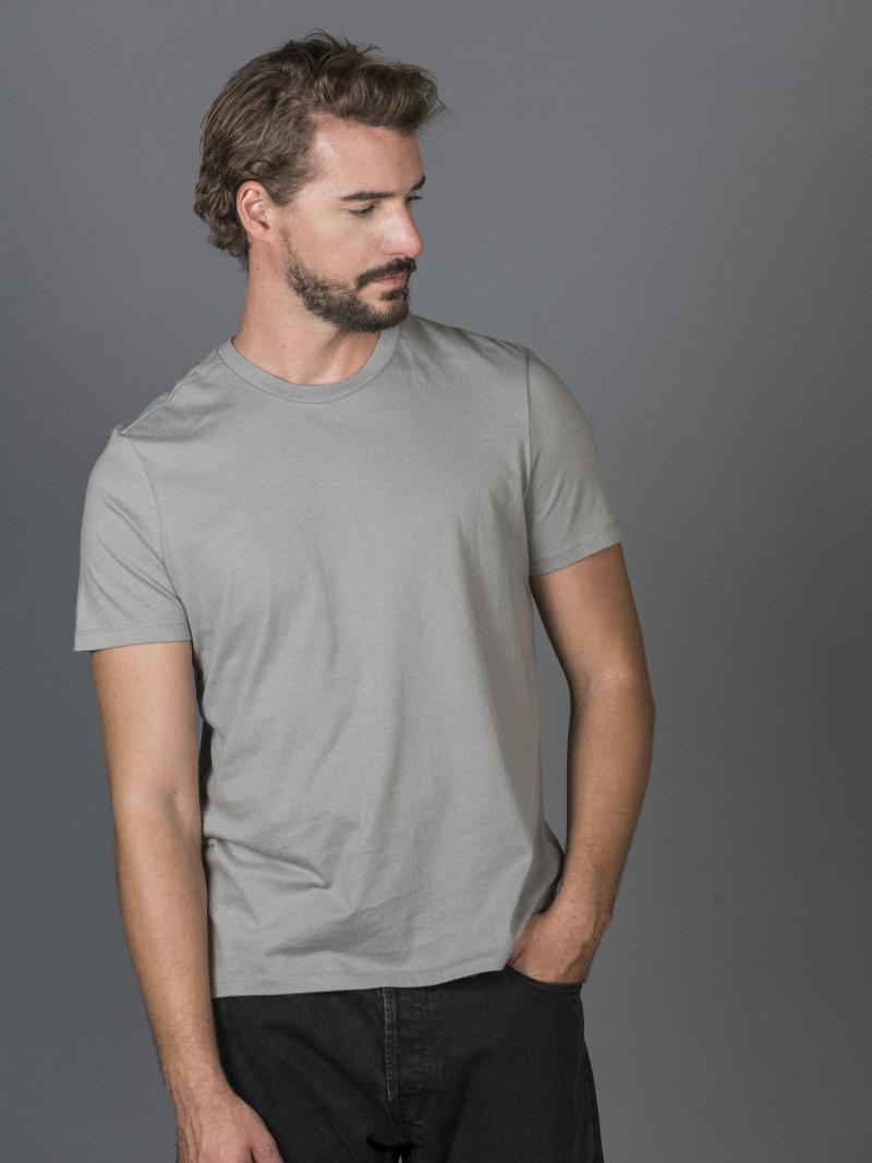 T-shirt grigia basica uomo girocollo con manica corta in 100% cotone