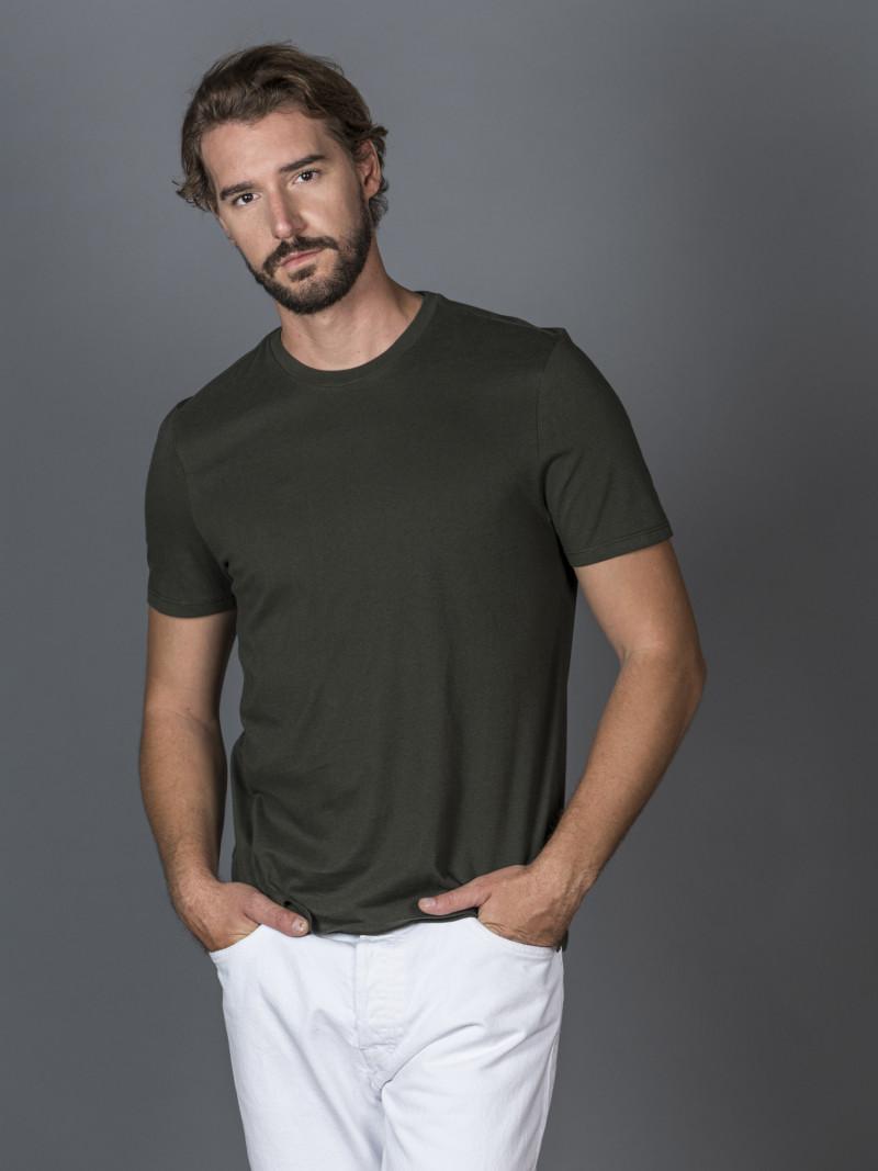 T-shirt verde scuro basica uomo girocollo con manica corta in 100% cotone