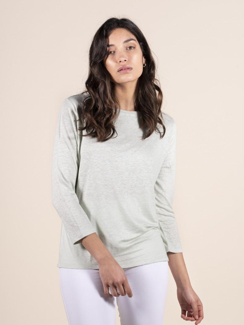 T-shirt verde chiaro donna con scollo a barchetta e maniche a tre quarti in lino
