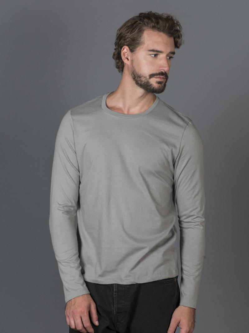 T-shirt cenere basica uomo girocollo con manica lunga in 100% cotone