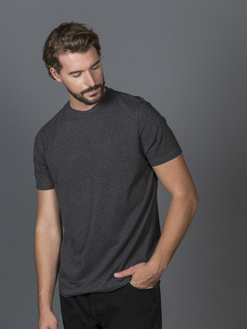 T-shirt slim grigio scuro uomo girocollo con manica corta