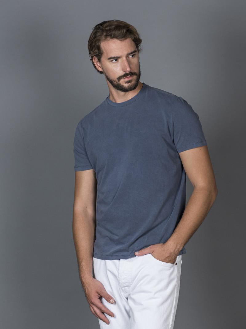 T-shirt slim blu notte uomo girocollo con manica corta