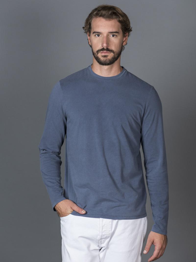 T-shirt blu notte slim uomo con maniche lunghe in cotone ed elastan