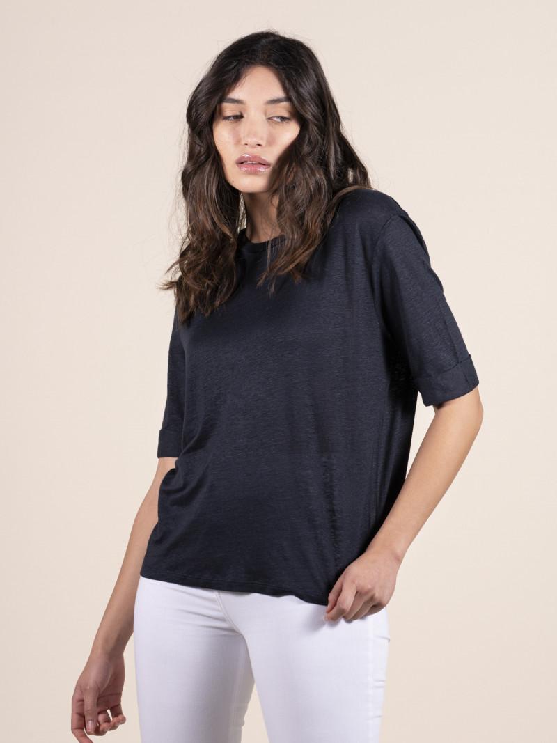 T-shirt girocollo blu donna con maniche al gomito in lino ed elastan
