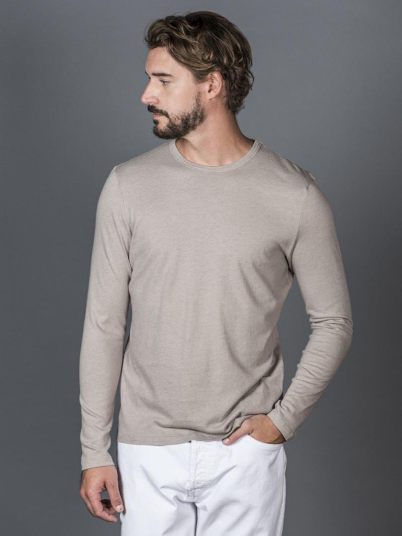 T-shirt porcellana uomo girocollo con manica lunga in cotone e cashmere