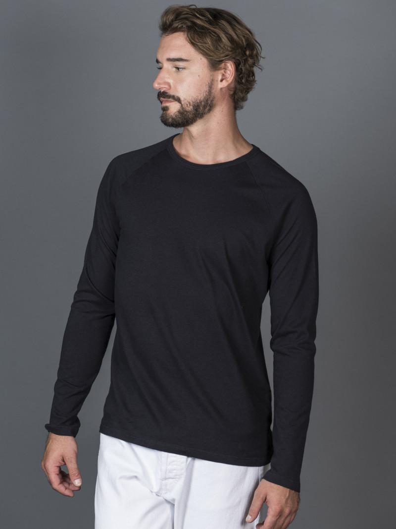 T-shirt blu scuro uomo girocollo con manica lunga in cotone e cashmere