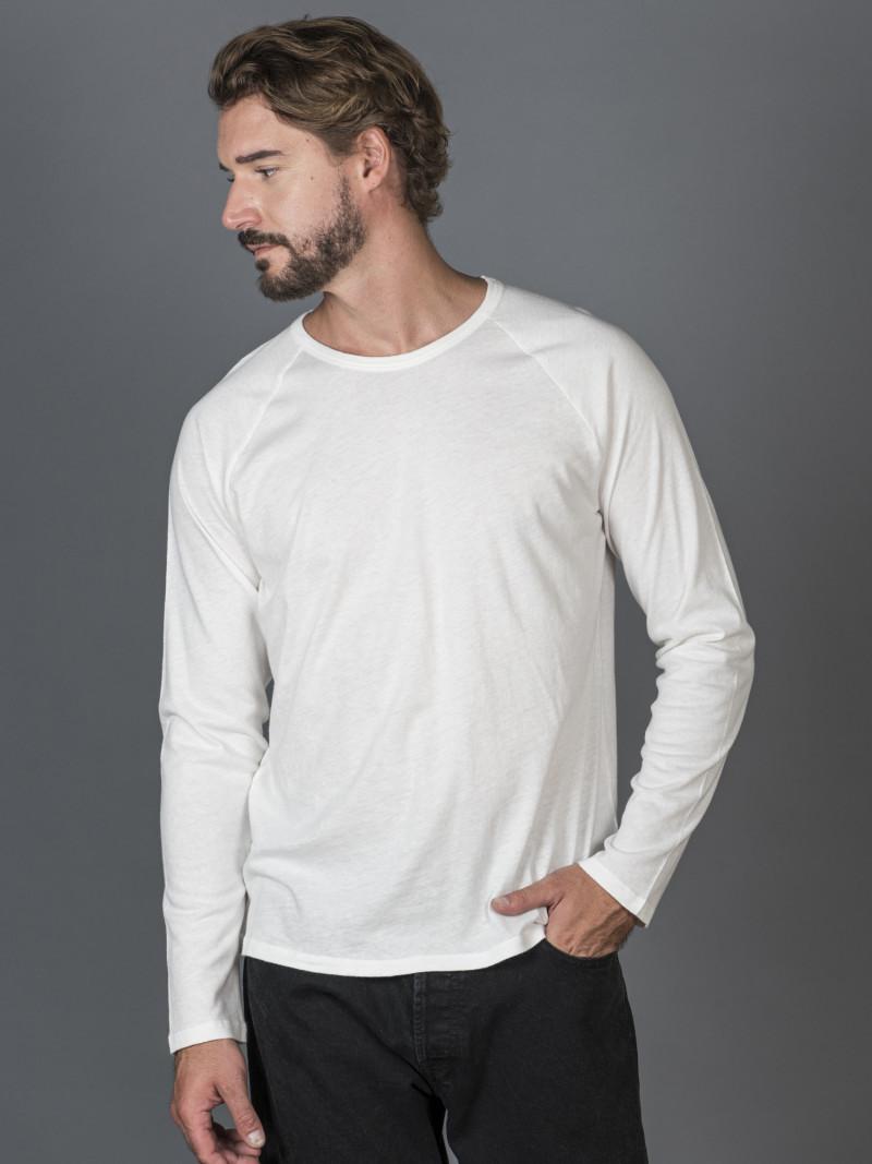 T-shirt bianco latte uomo girocollo con manica lunga in cotone e cashmere