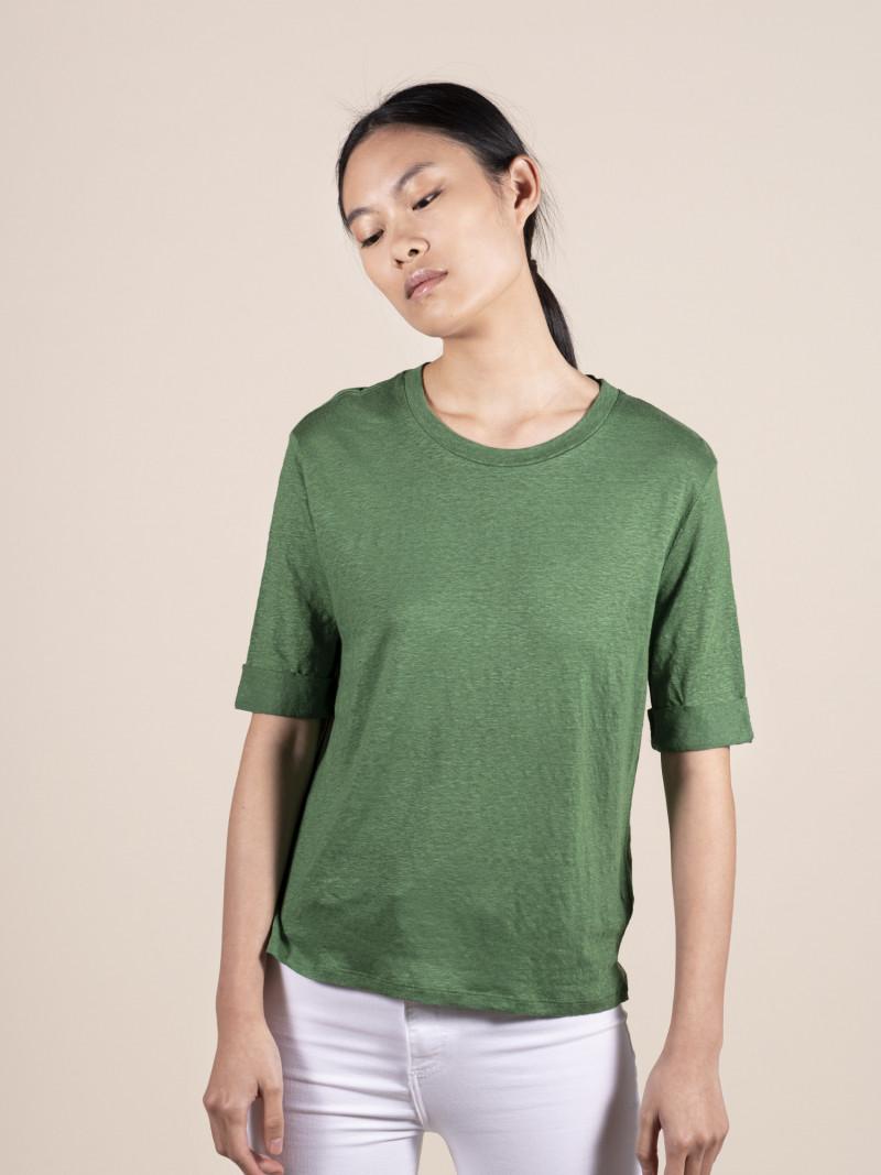 T-shirt girocollo verde donna con maniche al gomito in lino ed elastan