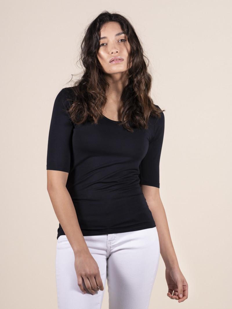 T-shirt donna con scollo a U blu scuro e manica al gomito in viscosa ed elastan