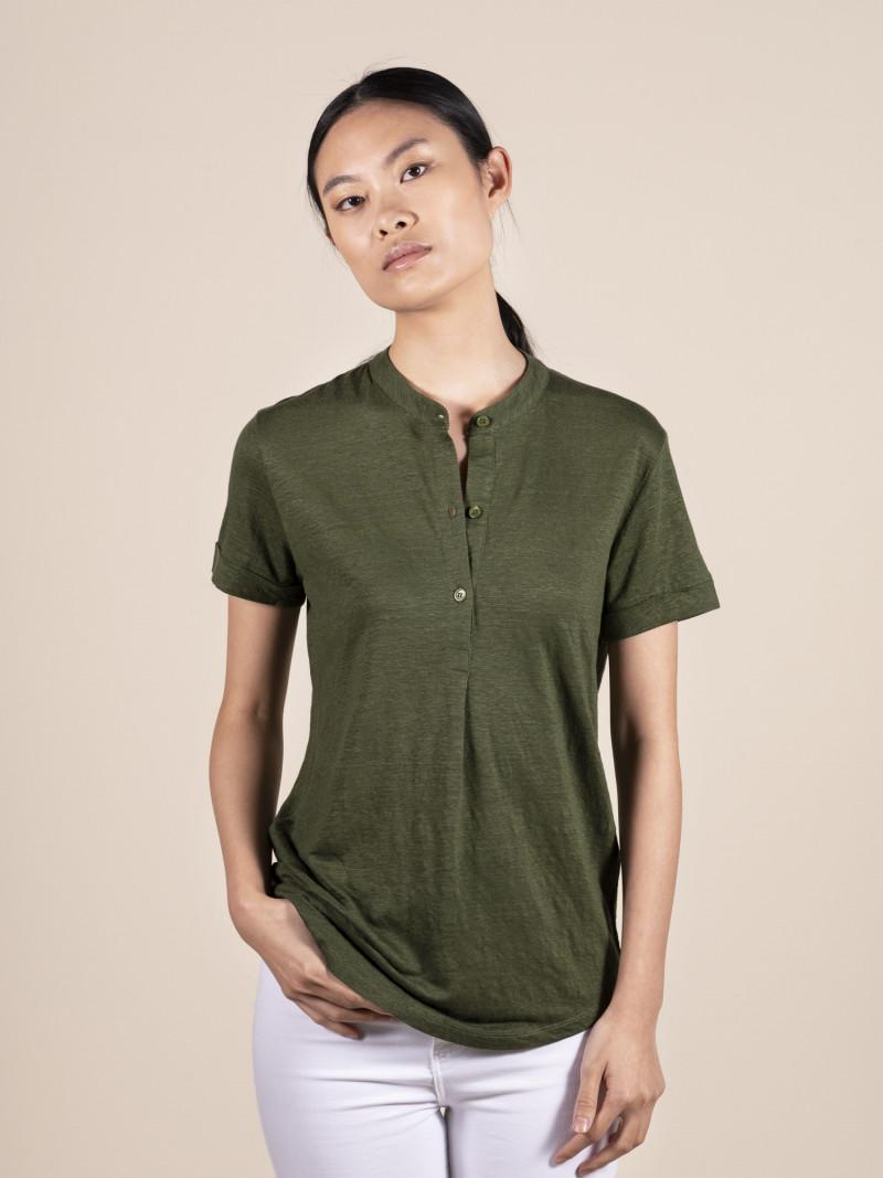 T-shirt verdone donna girocollo serafino con manica corta risvoltata in lino ed elastan