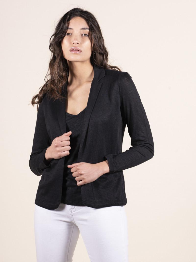 Giacca nera da donna in lino con maniche lunghe