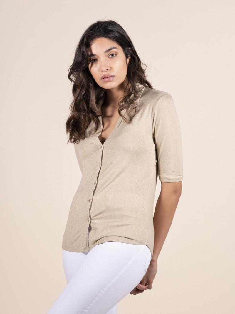 Camicia donna oro con colletto e chiusura davanti con bottoni