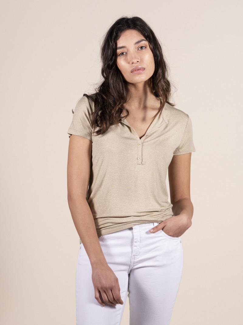 T-shirt slim donna serafino con manica corta oro brillante