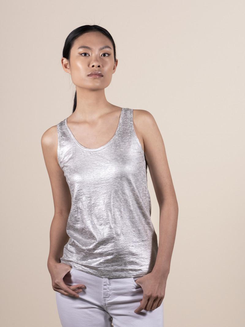 Canotta slim basica argento da donna in lino ed elastan