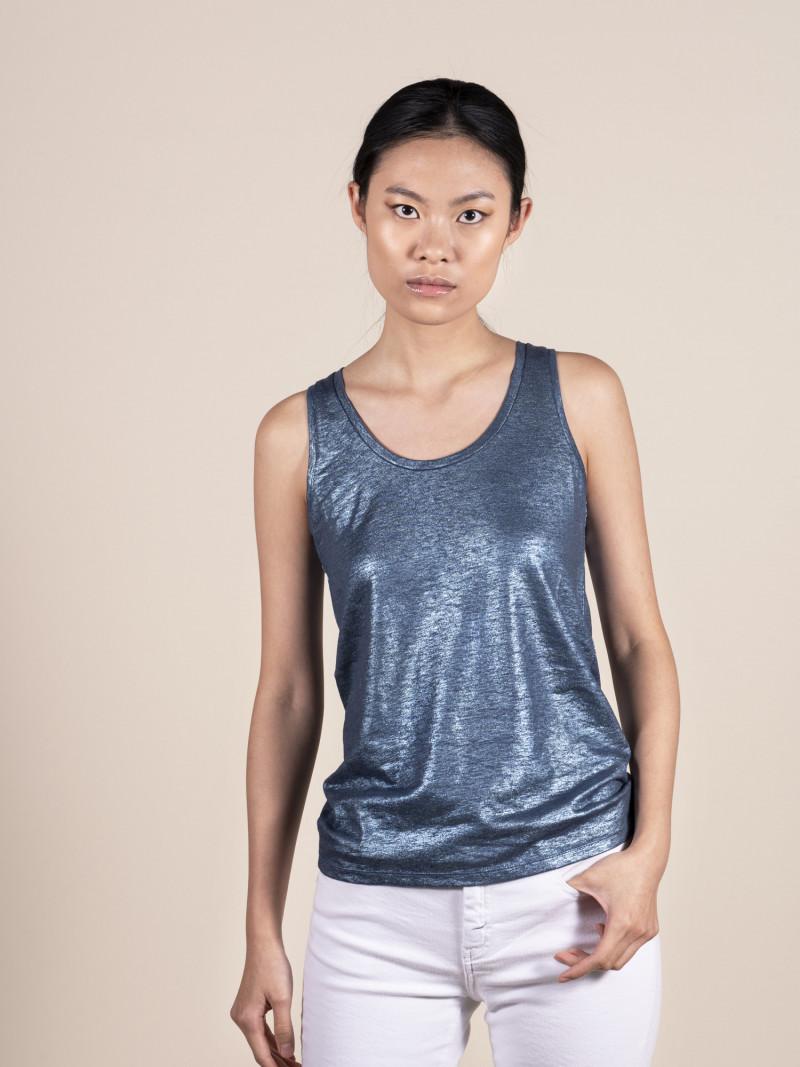 Canotta slim basica blu metallico da donna in lino ed elastan