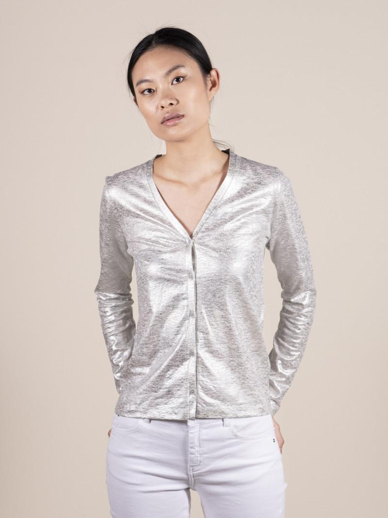 Cardigan slim donna argento in lino ed elastan con maniche lunghe e scollo a V