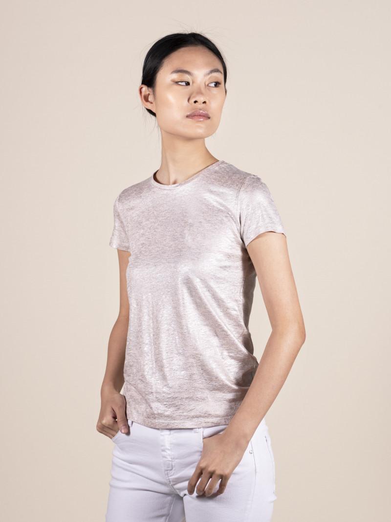T-shirt rosa metallizzato donna girocollo con manica corta in lino ed elastan e vestibilità slim