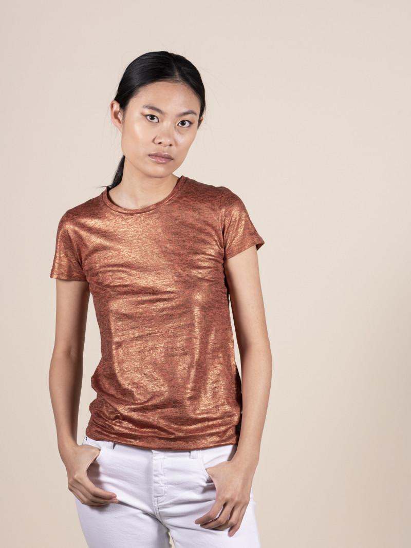 T-shirt rame donna girocollo con manica corta in lino ed elastan e vestibilità slim